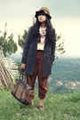 Brown-floppy-pull-bear-hat-charcoal-gray-long-moms-closet-blazer