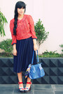 Navy-pleated-vintage-skirt-blue-mickey-mouse-centro-dept-store-scarf