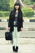 black asos boots - black cotton trench Zara coat