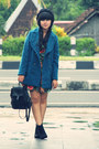 Black-asos-boots-black-river-island-dress-teal-wool-blend-milanoo-coat