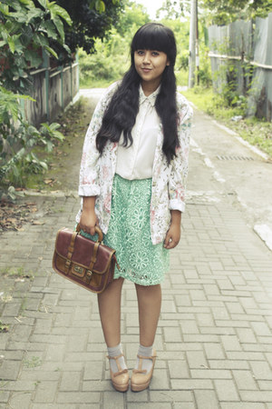 aquamarine asos skirt - beige vintage blazer - silver River Island shirt