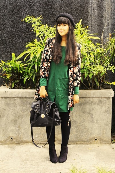 black asos boots - forest green Martofchina dress - black Primark coat