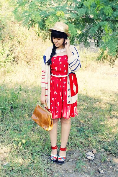 red Maykool dress - beige gold band straw gift hat - tawny milanoo bag