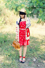Red-maykool-dress-beige-gold-band-straw-gift-hat-tawny-milanoo-bag