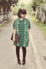 Black-milanoo-boots-dark-green-printed-stretch-mootta-dress
