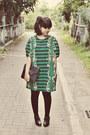 Black-milanoo-boots-dark-green-printed-stretch-mootta-dress