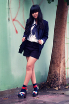 blue Thrift Store blazer - white Thrift Store blouse - black Oink shoes - blue s
