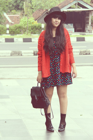 black colorful heart Topshop dress - black Topshop hat