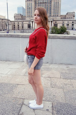 ruby red OASAP sweater - white Topshop bag - silver DIY shorts