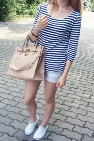 beige OASAP bag - silver DIY shorts - navy H&M blouse - white Vans sneakers