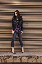 black biker jacket H&M jacket - charcoal gray James Jeans jeans