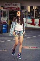 sky blue Ella Moss shirt - bubble gum tie dye t-shirt Dr Martens shirt
