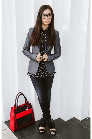 blue Tommy Hilfiger jeans - black Nasty Gal shoes - gray Tommy Hilfiger blazer