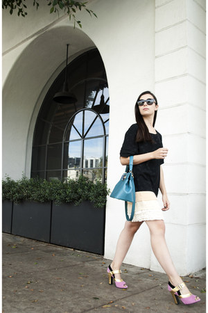 turquoise blue rossellini tote bvlgari bag - black Marc by Marc Jacobs dress