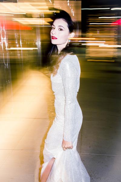 black kc-dare Steve Madden heels - silver Nasty Gal dress