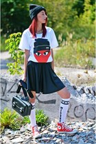 black Zara bag - red Converse shoes - ivory Misbhv stockings