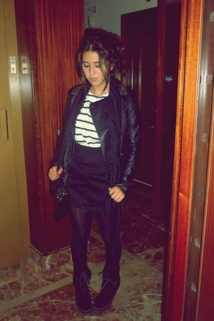 black Zara boots - black Topshop coat - white Zara t-shirt - black H&M skirt