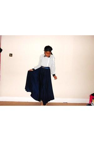 maxi skirt River Island skirt - stripe VNTAGE shirt - vintage belt