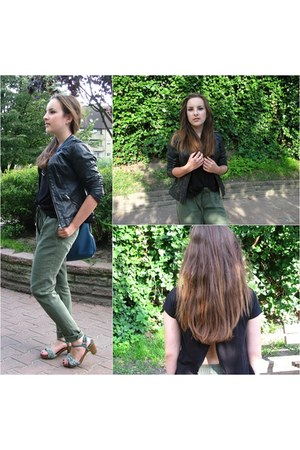 black leather jacket F&F jacket - brown Stradivarius sandals