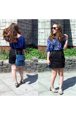 black H&M skirt - teal Stradivarius bag - blue Stradivarius blouse