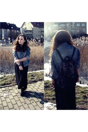 sky blue jeans H&M jacket - Atmosphere bag - navy second hand skirt