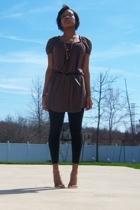 Sharagano dress - forever 21 belt - Target leggings - accessories