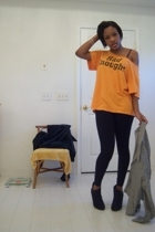 t-shirt - Herman Geist jacket - Target leggings - payless shoes