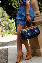 blue Zara dress - gold bronx shoes - blue Louis Vuitton accessories