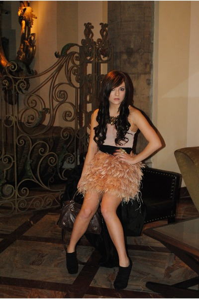 nude Mango skirt - nude Mango top - black Primadonna boots - brown Mango necklac