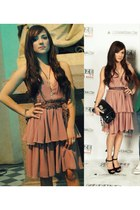 pink H&M dress - black Miu Miu bag