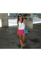 red asos shorts - teal Hermes bag