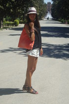 ivory Zara shorts - carrot orange Stella McCartney bag - black Zara top