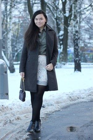 eggshell H&M skirt - army green DIY shirt
