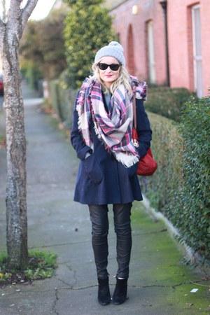 wool Topshop coat - maroon plaid Stradivarius scarf - leather Zara pants