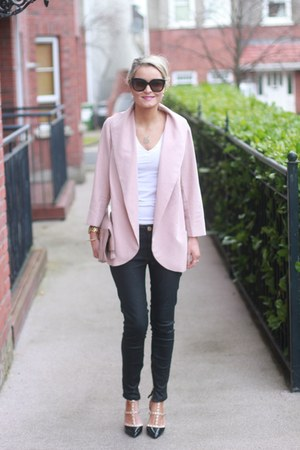 blush pink Forever 21 blazer - leather look Zara jeans