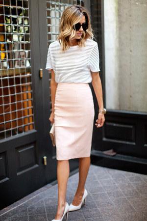 blush pencil River Island skirt - white stiletto River Island heels