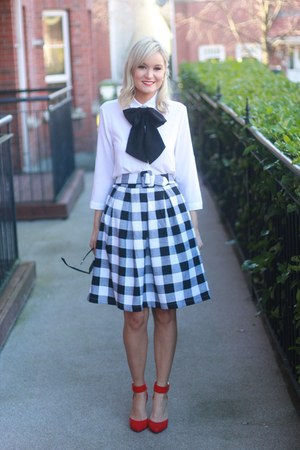 gingham Sheinsidecom skirt - bow tie Blouse blouse