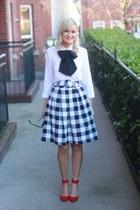 gingham Sheinsidecom skirt - bow tie Blouse blouse