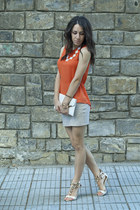 orange chiffon H&M top - white clutch bag - off white Stradivarius skirt