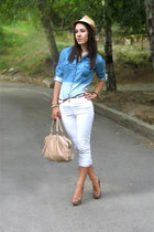 denim shirt Tally Weijl shirt - New Yorker hat - open toe Zara pumps