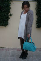 blue Topshop accessories - black Newlook boots - beige bdba dress - gray handmad