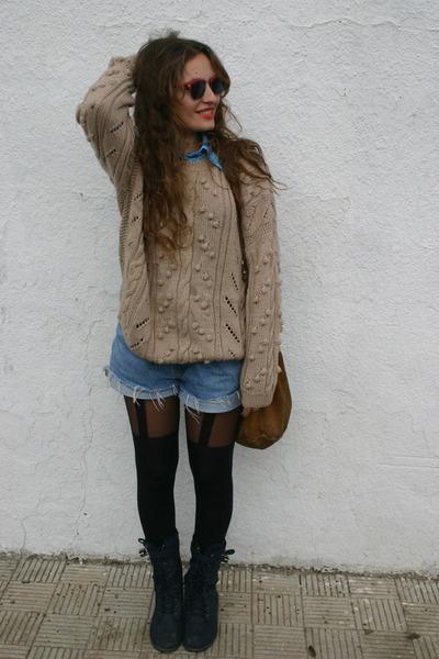 no brand boots - no brand sweater - Primark tights - vintage shorts - no brand b