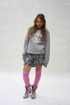 no brand boots - no brand ebay socks - new look dress - REPLAY sweater