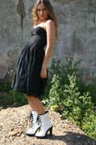 black Mango dress - white Mango boots