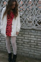 black BLANCO boots - ivory BikBok coat - red H&M top
