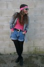 Pink-sweater-blue-pepe-shorts-black-new-look-boots-silver-blanco-blazer-