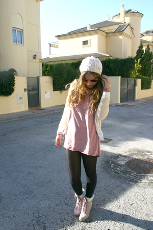 pink no brand boots - pink no brand dress - beige no brand jacket - white Bershk