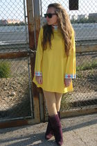 purple Marypaz boots - gold vintage dress - black Springfield sunglasses