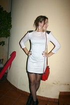 beige new look dress - black new look boots - red pull&bear accessories