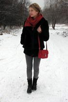 H&M coat - H&M scarf - Glitter bag - H&M pants